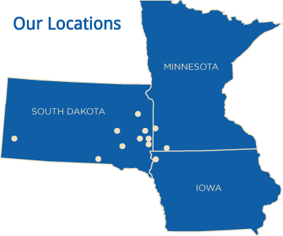 South Dakota - Minnesota - Iowa locations